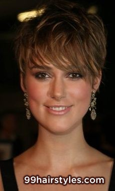 Straight light brown pixie haircut with long wispy side swept bangs hairstyle idea