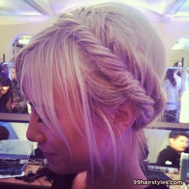 white blonde hairstyle with braid